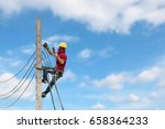 electricians are climbing on... | Shutterstock . vector #658364233