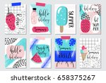 vector set of bright summer... | Shutterstock .eps vector #658375267