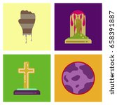 assembly flat icons halloween... | Shutterstock .eps vector #658391887