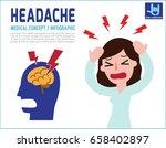 woman a headache. migraine.... | Shutterstock .eps vector #658402897