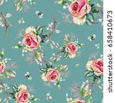 seamless rose pattern and... | Shutterstock . vector #658410673