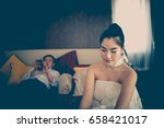 wife sad from husband because... | Shutterstock . vector #658421017