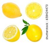 fresh lemon isolated on white... | Shutterstock . vector #658424473