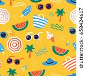 Colorful seamless summer pattern with hand drawn beach elements such as sunglasses, palm, watermelon slice, tote bag, umbrella, ice cream, waves, sand. Fashion print design, vector illustration | Shutterstock vector #658424617