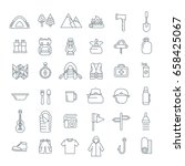summer camping thin line icons. ...   Shutterstock .eps vector #658425067