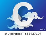 paper art of character c cloud... | Shutterstock .eps vector #658427107