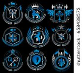 set of old style heraldry... | Shutterstock .eps vector #658438573