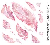 romantic vector feathers set.... | Shutterstock .eps vector #658438717