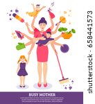 busy mother concept with... | Shutterstock .eps vector #658441573