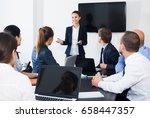 active smiling worker speaking... | Shutterstock . vector #658447357