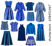 set of blue woman clothes... | Shutterstock . vector #658451467