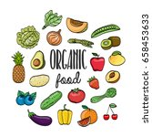 organic healthy food bright... | Shutterstock .eps vector #658453633