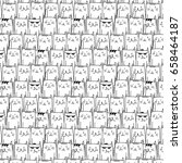 Hand Drawn Cats Vector Pattern...