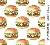 hand drawn watercolor hamburger ... | Shutterstock . vector #658465177