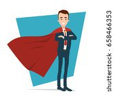 a superhero businessman stands... | Shutterstock .eps vector #658466353