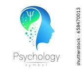 modern head sign of psychology. ... | Shutterstock .eps vector #658470013