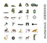 hunting and equipment set of... | Shutterstock .eps vector #658504543