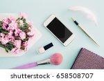 feminine flat lay on blue... | Shutterstock . vector #658508707