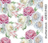 seamless pattern with flowers.... | Shutterstock . vector #658519483