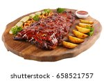 meat grilled ribs on a white... | Shutterstock . vector #658521757