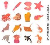 ocean animals fauna icons set.... | Shutterstock .eps vector #658522663