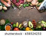 Balanced Diet Food Background....