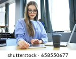 hipster woman use laptop huge... | Shutterstock . vector #658550677