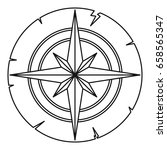 ancient compass icon in outline ...   Shutterstock . vector #658565347