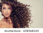 brunette  girl with long  and   ... | Shutterstock . vector #658568143