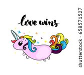 love wins   lgbt pride slogan... | Shutterstock .eps vector #658571527