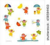 raincoat children cute... | Shutterstock .eps vector #658584403