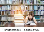 young girl student with glasses ... | Shutterstock . vector #658585933
