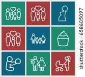 mom icons set. set of 9 mom... | Shutterstock .eps vector #658605097