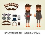 happy hipster style character... | Shutterstock .eps vector #658624423