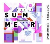 trendy vector holiday summer... | Shutterstock .eps vector #658626643