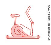 stationary bicycle sport flat...   Shutterstock .eps vector #658627903