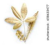 set of golden  floral design... | Shutterstock . vector #658633477
