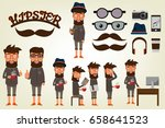 happy hipster style character... | Shutterstock .eps vector #658641523