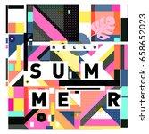 trendy vector holiday summer... | Shutterstock .eps vector #658652023