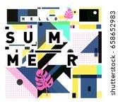 trendy vector holiday summer... | Shutterstock .eps vector #658652983