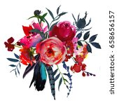watercolor flowers red navy... | Shutterstock . vector #658656157