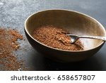wooden bowl with homemade taco... | Shutterstock . vector #658657807