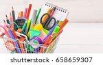 school supplies in a shopping... | Shutterstock . vector #658659307