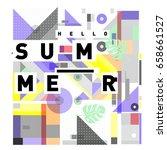 trendy vector holiday summer... | Shutterstock .eps vector #658661527
