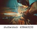 welding work. erecting... | Shutterstock . vector #658663153