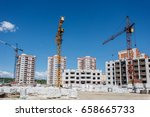 construction site of apartment... | Shutterstock . vector #658665733