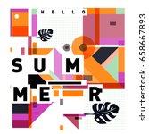 trendy vector holiday summer... | Shutterstock .eps vector #658667893