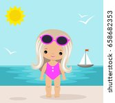 cute vector little girl on the... | Shutterstock .eps vector #658682353