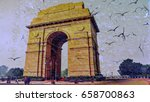 india gate in rainy day into... | Shutterstock . vector #658700863