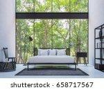 modern loft bedroom with nature ... | Shutterstock . vector #658717567